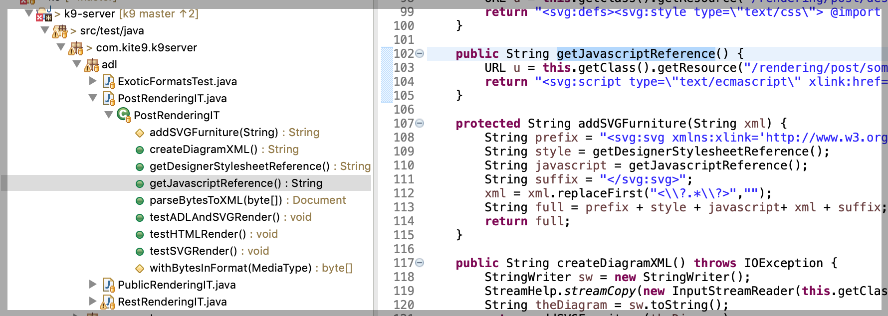Compositional hierarchies on a larger project:  methods, classes, packages, directories, projects